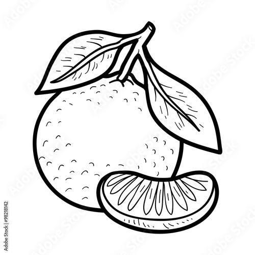 Coloring Book: Fruits And Vegetables (mandarin) Stock Vector Adobe Stock
