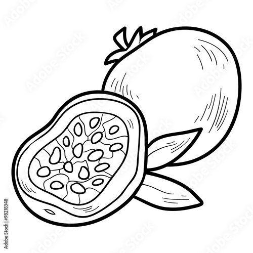 Coloring Book: Fruits And Vegetables (passion Fruit) Stock Vector Adobe  Stock
