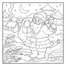 Coloring Book, Game For Children: Santa Claus