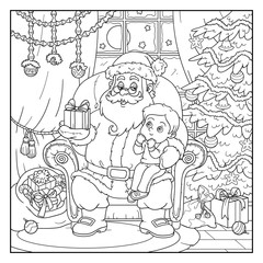 Coloring book for children: Santa Claus gives a gift a little bo