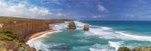 Panorama Of Two Of The Twelve Apostles Rocks On  Great Ocean Roa