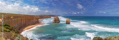 In de dag Australië Panorama of two of the Twelve Apostles rocks on Great Ocean Roa