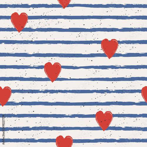 Cotton fabric seamless stripes pattern with hearts