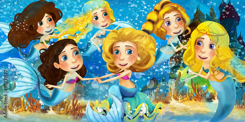 Cartoon ocean and the mermaids - illustration for the children