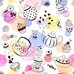 Plakat Tea time seamless pattern. Tea party background design. Hand drawn doodle illustration with teapots, cups and sweets.
