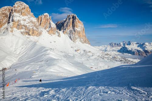 Fotobehang Bergen Ski Resort in Dolomites
