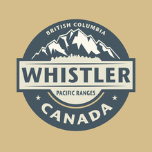 Abstract Stamp With The Name Of Town Whistler In Canada