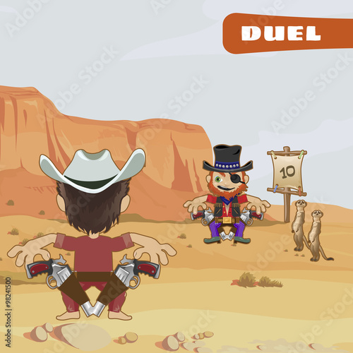 Poster Ranch Duel between two tough guys, cartoon characters of the wild West