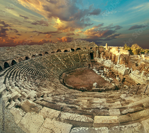 Photo  Side antique amphitheatre fish eye top view