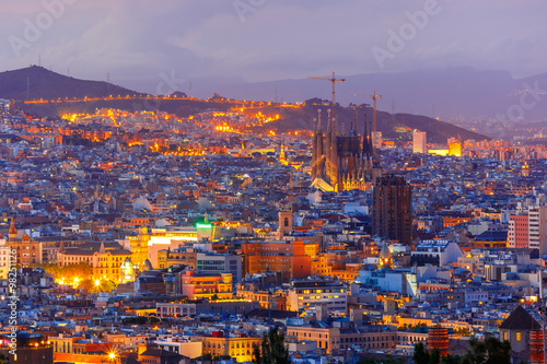Aerial View Barcelona At Night Catalonia Spain Kaufen Sie Dieses