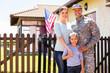 Leinwandbild Motiv american soldier reunited with family