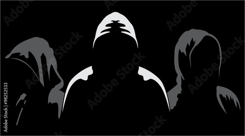 Fotomural  Silhouettes of three anonymous