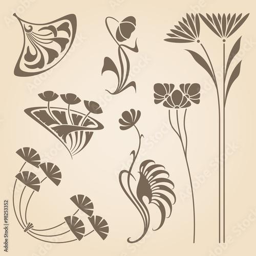 Vector art nouveau elements. Wall mural