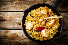 Pilaf In A Pig-iron Frying Pan