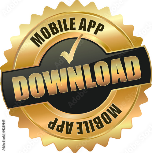 golden shiny vintage app download 3d vector icon seal sign button