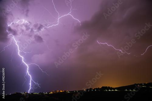 Printed kitchen splashbacks Storm Lightning strike