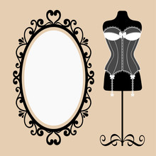 Mannequin And Corset And A Mirror