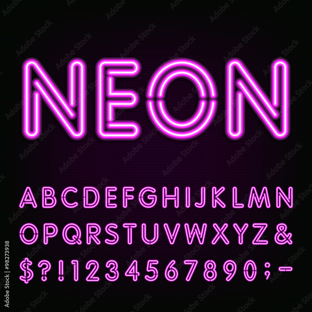 Fototapety, obrazy: Purple Neon Light Alphabet Font. Neon effect letters, numbers and symbols on the dark background. Vector typeface for labels, titles, posters etc.