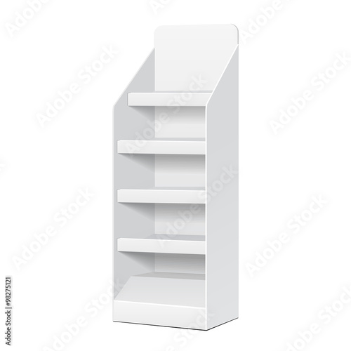 Fotografie, Obraz  White POS POI Cardboard Blank Empty Displays With Shelves Products On White Background Isolated