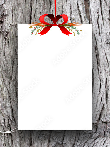 One Empty Rectangular Paper Sheet Frame With Xmas Ribbon Decoration