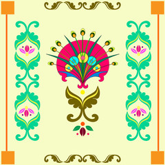 Decorative floral pattern with abstract flower and ornament/on a gentle yellow background is fabulous