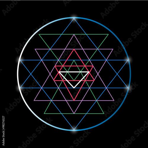 Sacred geometry and alchemy symbol Sri Yantra Fototapet