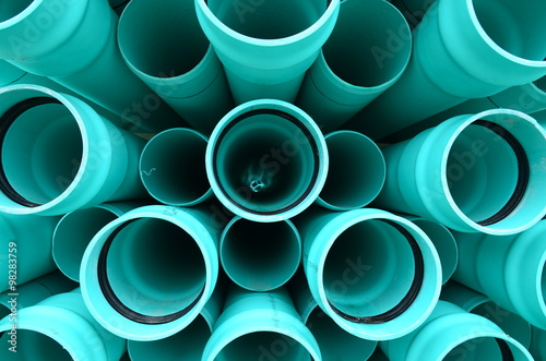 Fotografia  blue pvc pipes
