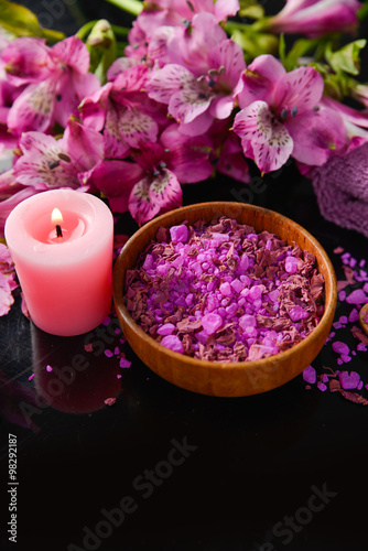 Poster Spa Spa background-branch orchid, candle, petals in bowl