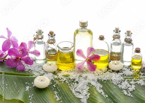 Fotobehang Spa Spa set on banana leaf with set of massage oil