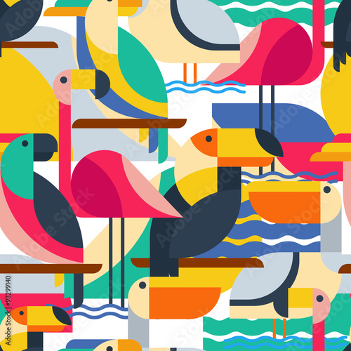 obraz dibond Seamless pattern with tropical birds.