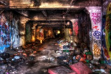Underground Scary Tunnel Covered With Junk And Graffiti