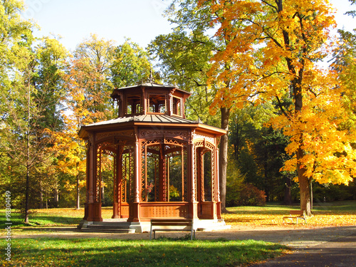 Foto beautiful wooden arbour and yellow trees in the park in autumn