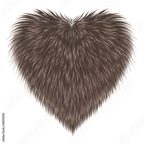 Fur  heart isolated on white background Wall mural