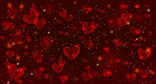 Valentine's Day Red Background With Hearts.