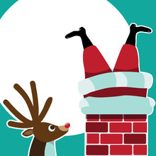 Reindeer Sees Santa Claus Stuck In The Chimney Background. Space For Your Message In The Moon.