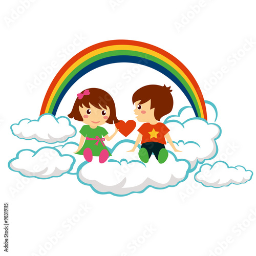 Foto op Canvas Regenboog Young beautiful girl giving heart to lovely boy for valentine day