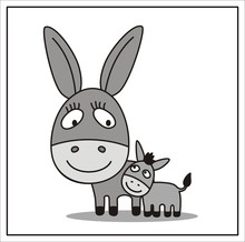 Mother And Child, Cartoon Mama Donkey And Little Colt