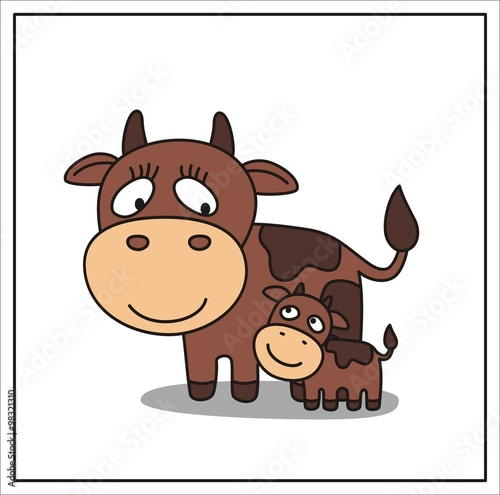 Fototapety, obrazy: mother and child, cartoon mama cow and little calf