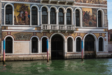 Fototapeta Old Facade along Typical Water Canal in Venice, Italy
