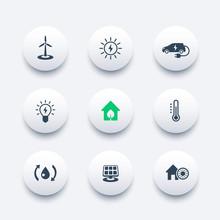 Green Ecologic House, Ecofriendly, Energy Saving Technologies, Round Modern Icons, Vector Illustration