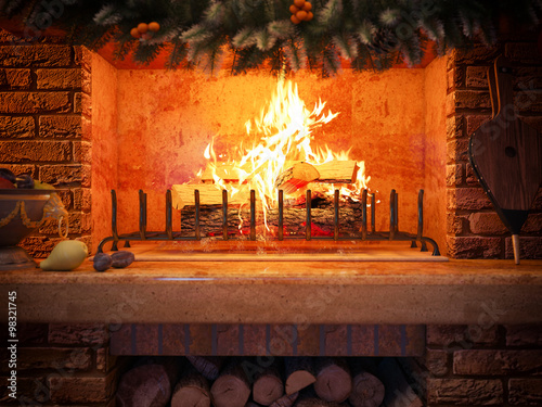Aluminium Prints Old abandoned buildings 3D rendering New year interior with fireplace in the house from a log.