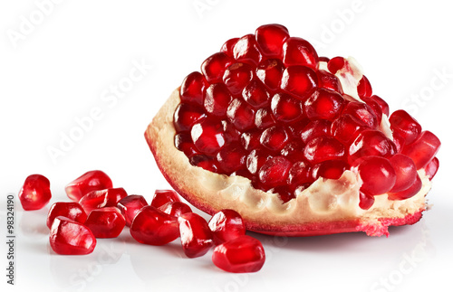 Pomegranate isolated on white background.