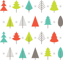 Abstract Christmas Tree Background In Flat Style. Vector.