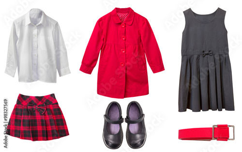 Fotografía  School uniform cothes set isolated on white.