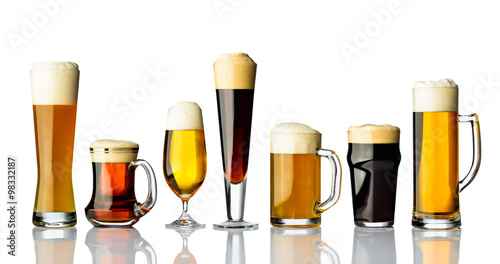Deurstickers Alcohol Different types of beer