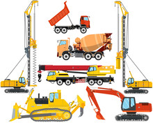 Set The Isolation Of Heavy Equipment For Construction And Repair On A White Background. Construction And Road Works. Vector Illustration