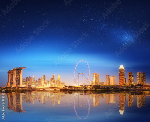 Photo  Singapore Skyline and view of Marina Bay