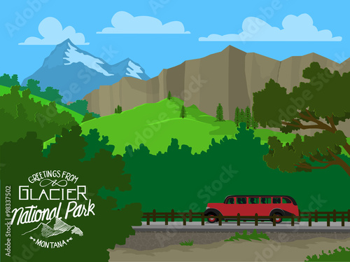 Valokuva  Vector illustration of Glacier National Park with a tour bus driving by and mountains in the background