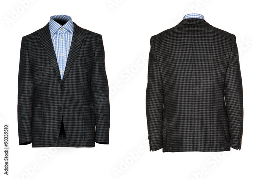 men's jacket with a shirt on a white background Canvas Print