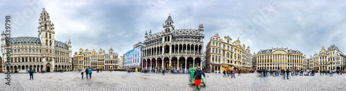 Poster Antwerp Brussels grand place panorama